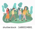 modern young people walk park ... | Shutterstock .eps vector #1688324881