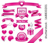 pink web elements  ribbon and... | Shutterstock .eps vector #168833201