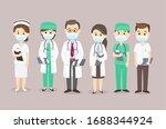 set cartoon doctor team vector | Shutterstock .eps vector #1688344924