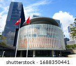 Small photo of Hong Kong, China - May 18 2018: The Legislative Council (LegCo) of Hong Kong. It is used to enact, amend or repeal laws, examine and approve budgets, taxation and public expenditure; and raise questio