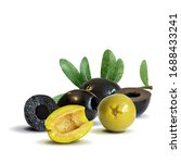 green and black olives in... | Shutterstock .eps vector #1688433241