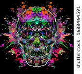 Abstract Background With Skull...