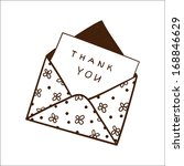 envelope with thanksgiving text.... | Shutterstock .eps vector #168846629