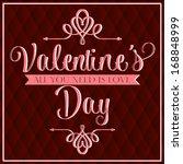happy valentine's day hand... | Shutterstock .eps vector #168848999