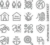 social distancing icon set... | Shutterstock .eps vector #1688493307