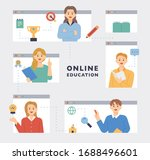 teachers in internet web pages... | Shutterstock .eps vector #1688496601