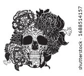 day of the dead floral sugar... | Shutterstock .eps vector #1688514157