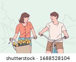 a couple is riding a bicycle in ...   Shutterstock .eps vector #1688528104