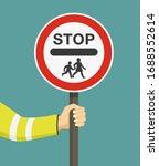 hand holding school warden sign.... | Shutterstock .eps vector #1688552614