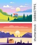set summer sunset seaside...   Shutterstock .eps vector #1688607991