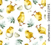 seamless pattern with cute... | Shutterstock . vector #1688611591
