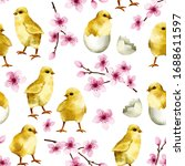 seamless pattern with cute... | Shutterstock . vector #1688611597