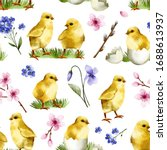 seamless pattern with cute... | Shutterstock . vector #1688613937