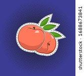 Fruit Peach Sticker On A Purple ...