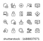 vector set of remote work line... | Shutterstock .eps vector #1688837071