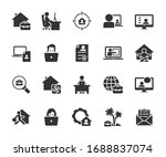 vector set of remote work  flat ... | Shutterstock .eps vector #1688837074