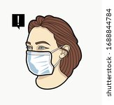 woman face in respiratory mask. ... | Shutterstock .eps vector #1688844784