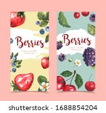 banners berries watercolor ... | Shutterstock . vector #1688854204