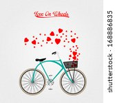 vector bicycle for valentine... | Shutterstock .eps vector #168886835