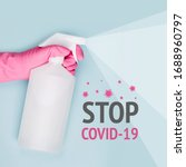 Small photo of Spray to Cleaning and Disinfection Virus, Covid-19, Coronavirus Disease, Preventive Measures. Sanitation and cleaner washing. Virus being killed by spray, disinfectant solution. Stop Covid-19.