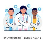 group of doctors staff with... | Shutterstock .eps vector #1688971141
