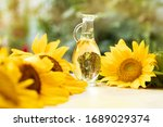 Bottle Glass With Sunflower Oil ...
