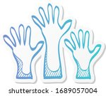 hands icon in sticker color... | Shutterstock .eps vector #1689057004