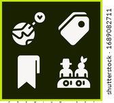set of 4 tag filled icons such...