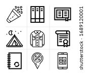 outline template 9 vector icons ...