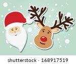 santa claus and reindeer ... | Shutterstock .eps vector #168917519