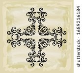 rococo texture pattern vector.... | Shutterstock .eps vector #1689216184