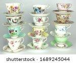 Vintage Floral Tea Cups Stacked ...