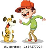 cartoon boy with his dog.... | Shutterstock .eps vector #1689277024