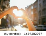 Woman Hands In Heart Love Shape ...