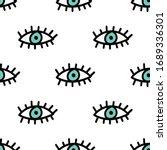 evil eyes seamless repeat... | Shutterstock .eps vector #1689336301