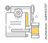 fine related line vector icon ... | Shutterstock .eps vector #1689353707