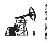 petroleum pumpjack silhouette... | Shutterstock .eps vector #1689366337