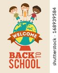 back to school over pink... | Shutterstock .eps vector #168939584