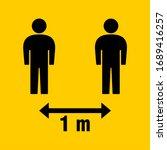 social distancing 1 meter icon. ... | Shutterstock .eps vector #1689416257
