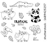 black and white set cute... | Shutterstock .eps vector #1689425257