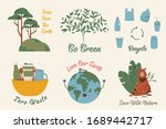 ecological stickers. collection ... | Shutterstock .eps vector #1689442717
