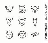 simple set fauna vector line... | Shutterstock .eps vector #1689479524