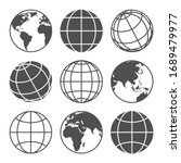 Planet Map Globe Icons. Vector...