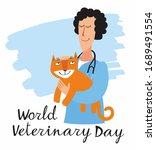 postcard world veterinarian day.... | Shutterstock .eps vector #1689491554