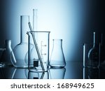 Laboratory Glassware On Color...