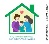 family stopped at home in order ... | Shutterstock .eps vector #1689535024