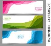 abstract header blue green pink ...   Shutterstock .eps vector #1689535204