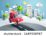 escape from the city  paper art ... | Shutterstock .eps vector #1689538987