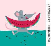 vector illustration of cute rat ... | Shutterstock .eps vector #1689562117