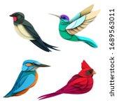 set of cartoon colorful birds...   Shutterstock .eps vector #1689563011